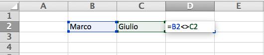 Diverso in Excel Esempio Pratico