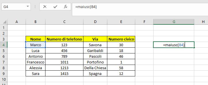 esempio formula maiusc