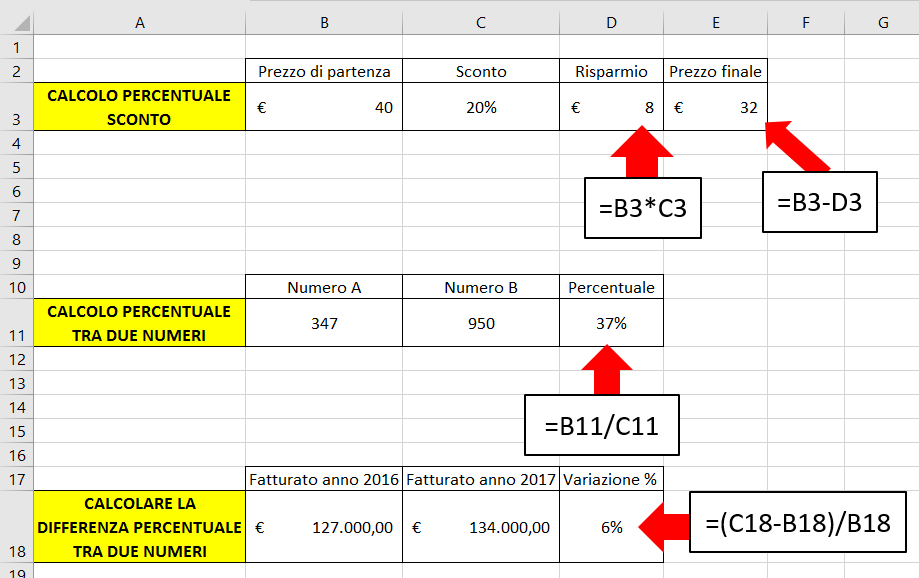 calcolo percentuale excel esempi
