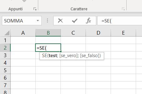 sintassi della funzione se di Excel